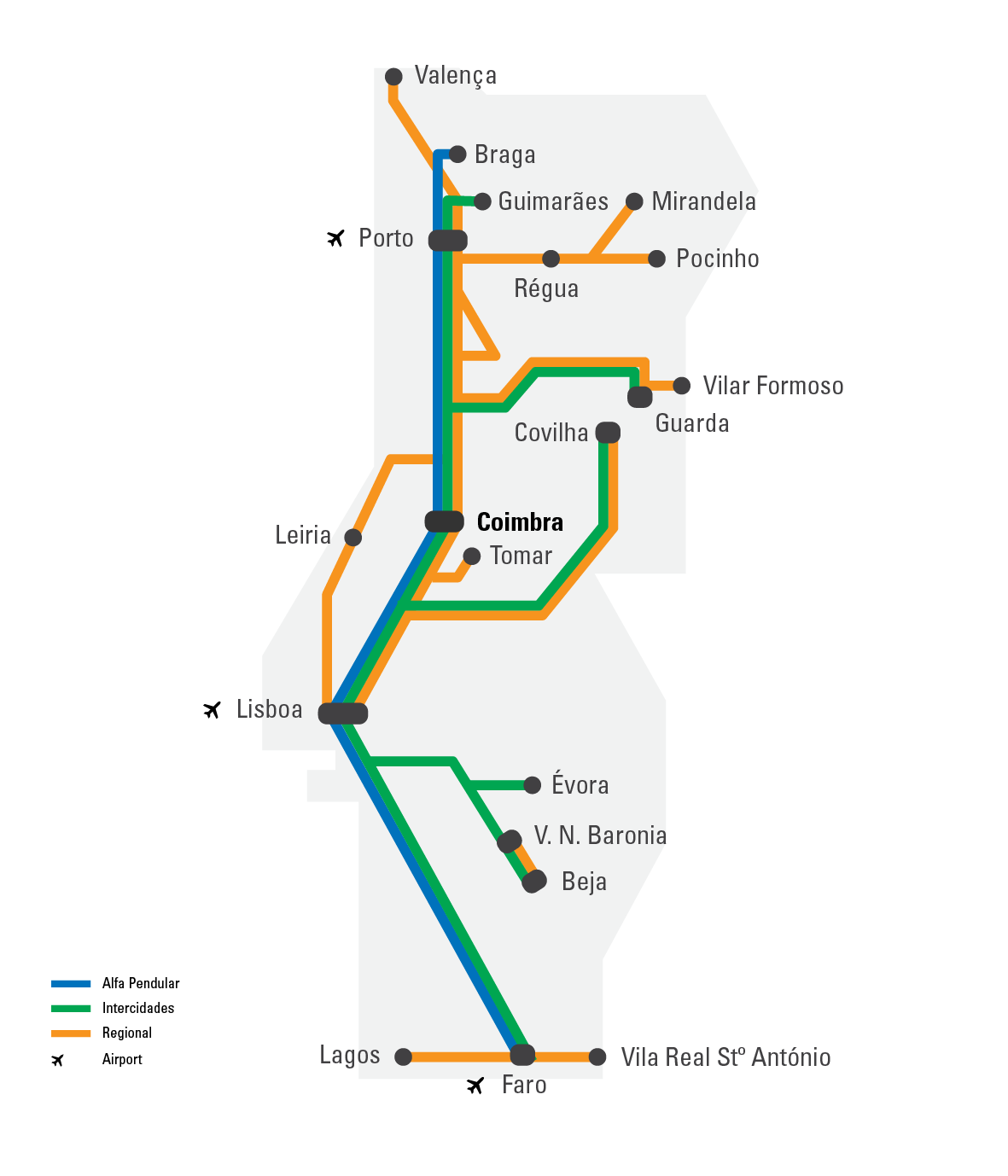 Travelling Information EPIA - Portugal map train
